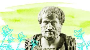 Graafisessa kuvassa Aristoteleen patsas.