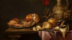 """Målningen """"Still life with shrimps and crabs on a tin plate"""" (1641) av den flamländske barockkonstnären Alexander Adriaenssen (1587–1661). På bilden syns ett bord med räkor och krabbor på ett tennfat, döda fåglar, en skuren citron samt en kniv."""