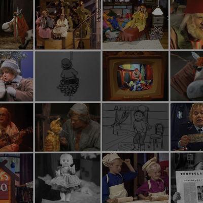 Kuvakollaasi Elävän arkiston joulukalenterivideoista.