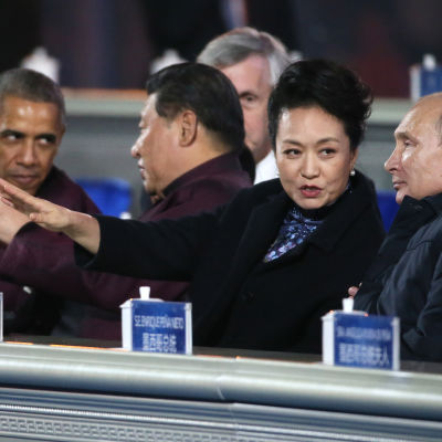 Presidenterna Barack Obama, Xi Jinping jämte hustru och Vladimir Putin på Apec-mötet i Peking 2014.