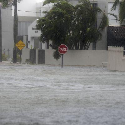 Översvämning i San Juan efter att stormen Maria drog över Puerto Rico.