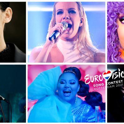 Kollage med 6 av de artister som tävlar i årets Eurovision