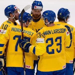 Sverige firar ett mål vid VM 2019.