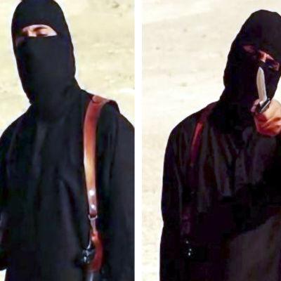Den maskerade mannen tros vara britten Jihadi John, som dödades i en flygattack i höst