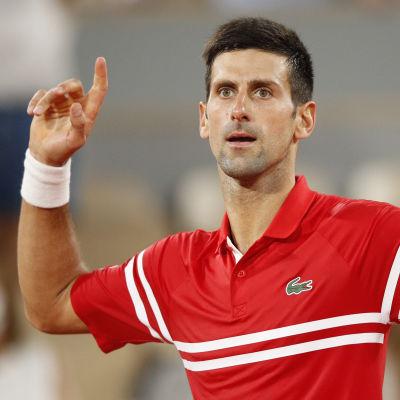 Novak Djokovic firar finalbiljetten efter att ha besegrat Rafael Nadal.