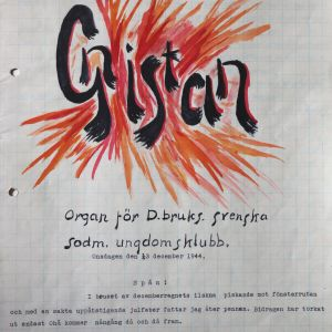 Tidningen Gnistan skrivet för hand på rutpapper.