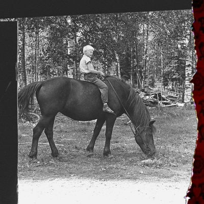 En liten pojke sitter barbacka på en stor häst.