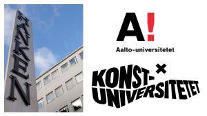 Bildcollage: Hanken, Aalto-universitetet och Konstuniversitetet.