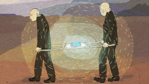 Kaksi miestä kantaa ydinjätettä paareilla kohti loppusijoitusta.