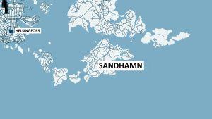 Illustrering för fallet där två kajakpaddlare omkom i vattnet utanför Sandhamn 11.7.2014.