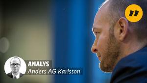 Bild på Sampo Terho i profil på högra sidan av bilden och en mindre svartvit bild av redaktör AG Karlsson nere till vänster med texten Analys