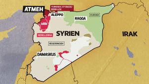 Karta över Syrien.