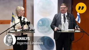Margot Wallström och Timo Soini håller presskonferens.
