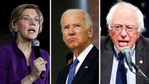 Elizabeth Warren, Joe Biden och Bernie Sanders.