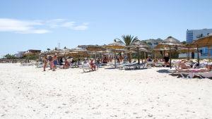 Stranden vid hotellet i Sousse som utsattes för ett terrorangrepp 2015.
