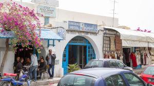 Litet hotell i Houmt Souk på ön Djerba i Tunisien.
