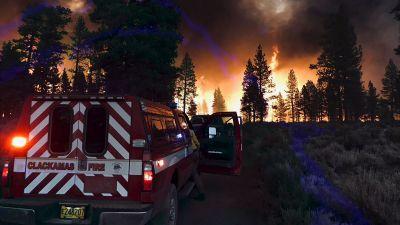 skogsbranden i Oregon, fotograferad nära Klamath Falls i torsdags.