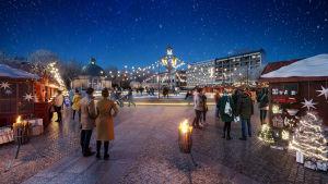 Illustrerande vinterbild av hur Åbo nya Salutorg kommer att se ut.