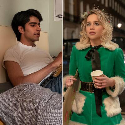 Javed (Viveik Kalra) sitter på sin säng och läser. Kate (Emilia Clarke) står på gatan och ser olycklig ut.