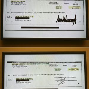 Cohens bildbevis; några checker för porrstjärnetystnad, från Trumps privata checkkonto