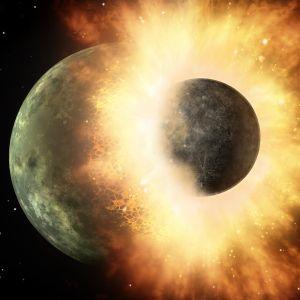 Taiteilijan näkemys Maan ja Theia-planeetan törmäyksestä.