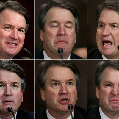 Sex bildler av Brett Kavanaugh under argt vittnesmål i senaten.
