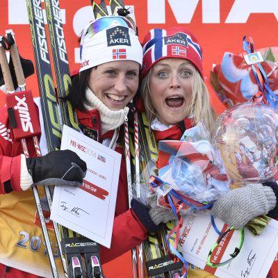 Björgen och Johaug har tränat i lag, här efter Världscupen i Falun 2014.