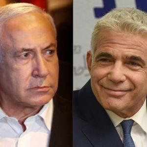 """Benjamin Netanyahu (till vänster) väntas göra sitt allt för att fälla Yair Lapids """"förändringskoalition"""" innan den kan tillträda."""