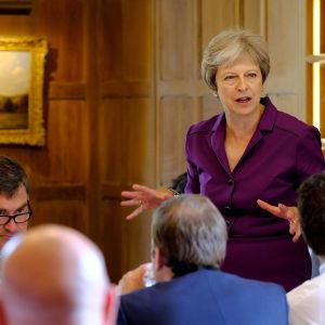Brittiska premiärministern Theresa May står och talar inför sin regering.