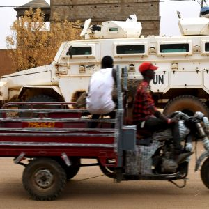 FN:s MUNISMA-fredsbevarare i gao i östra Mali. Augusti 2018.