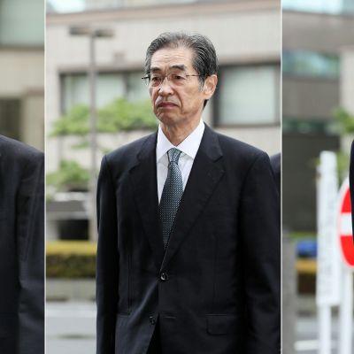 Tepcos före detta direktör Tsunehisa Katsumata (till vänster) och före detta vice direktörer Ichiro Takekuro (i mitten) och Sakae Muto på väg till rättegången i Tokyo.