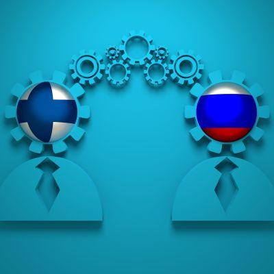 Grafik som visar två affärsmän med huvuden färgade i Finlands och Rysslands flaggor.