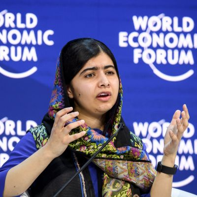 Malala Yousafzai talade vid det världsekonomiska forumet i Davos i januari 2018.