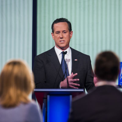 Rick Santorum under en valdebatt den 28 januari i Iowa.