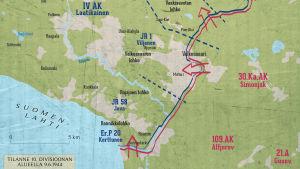 Kartta rintamalinjasta Kannaksella 9.6.1944