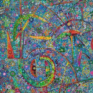 Yksityiskohta Paula Huhtasen teoksesta Etno, Rauha, Rakkaus