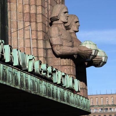 Järnvägsstationen i Helsingfors.