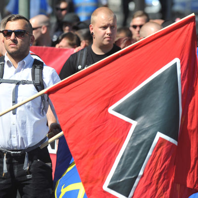 Protestmöte mot fler flyktingar i Goslar i Tyskland på lördagen.