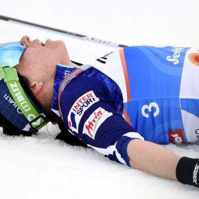 """Krista Pärmäkoski pani pettymksensä suksihuollon piikkiin: """"Se oli aivan harmaa se suksen pohja"""""""
