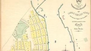 Karta över Gamble Carleby Stadh. Originalet från 1664, det här en kopia från 1868.