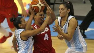 Argentinska och kanadensiska basketspelare.