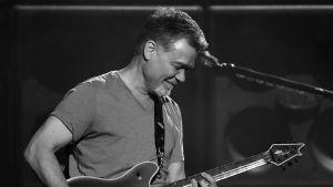 Gitarristen Eddie Van Halen spelar gitarr. Bilden är svartvit.