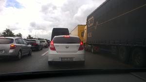 Trafikstockning på motorväg i Tyskland