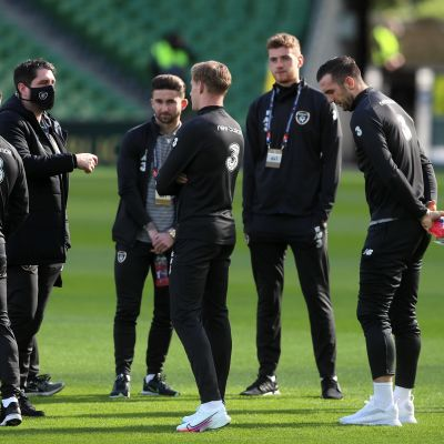 Republic of Ireland players inspect the pitch before the UEFA Nations League Group 4, League B match at the Aviva Stadium, Dublin. (Photo by Brian Lawless/PA Images via Getty Images)