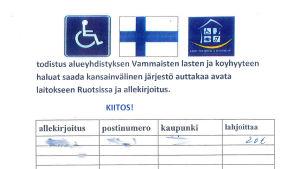 Namnlista för falsk pengainsamling. Bild från polisen.