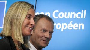 Federica Mogherini och Donald Tusk.