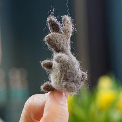 Kvinna håller upp en liten miniatyrnåltovad kanin med pekfinger och tumme.