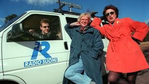 Matkalla pohjoiseen -ohjelmaa tekemässä Petri Hårdh, Erja Ekholm sekä Anneli Kuittinen 2.4.1994.