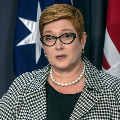 Australiens utrikesminister Marise Payne under en presskonferens som hon höll tillsammans med Storbritanniens utrikesminister Dominic Raab i början av februari i Canberra.