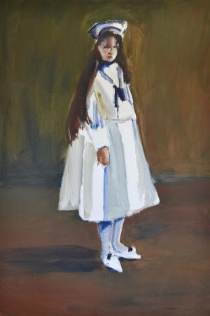 Målning av kvinna med långt brunt hår, iklädd vit sjömansklänning och hatt.